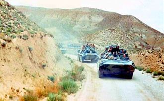 103rd Guards Airborne Division - BMPs and BTRs of the 350th Guards Airborne Regiment in a convoy in Afghanistan