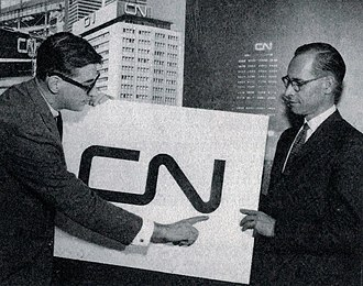Allan Fleming and Charles Harris, CN director of communications, at the launch of the CN logo at Montreal in 1960 Afleming cn.jpg