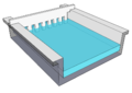 Agarose Gel, with Comb inserted, in a Gel Tray (Front, angled view) - SketchUp.png