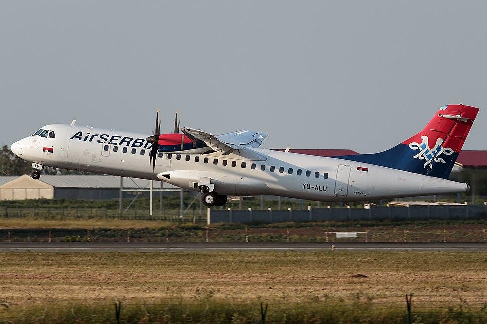 Air Serbia ATR 72-500 taking off at Belgrade Airport