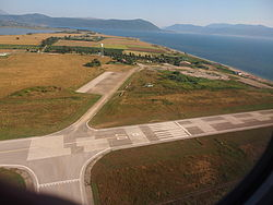 Aktion National Airport, runway 07R seen after takeoff from 25R.JPG