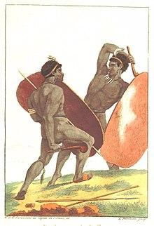 Abbildung aus Lichtensteins Reisen im südlichen Afrika 1803–1806: Afrikaner kämpfen mit Schlagstöcken (Quelle: Wikimedia)