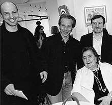Alda Merini con il trio comico Aldo, Giovanni & Giacomo