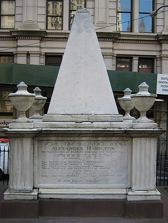 Hamilton's tomb in Trinity Church's first burial grounds at Wall Street and Broadway in Lower Manhattan Alexander Hamilton Grave.JPG