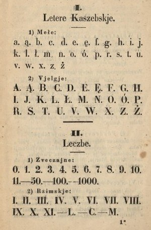 Kashubian alphabet - The earlier version of Kashubian alphabet, which dates back to 1850