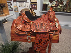 Saddle - Western saddle at Garza County Historical Museum in Post, Texas, United States.