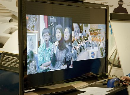 Indonesian and U.S. students participating in an educational videoconference (2010) American, Indonesian Students Link Hands Via Distance Learning.jpg