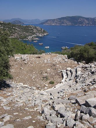 Amos (ancient city) - The theatre of Amos, with the gulf of Marmaris in the background.