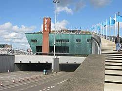 Amsterdam NEMO Science Museum by Renzo Piano. Terrace above IJ-tunnel