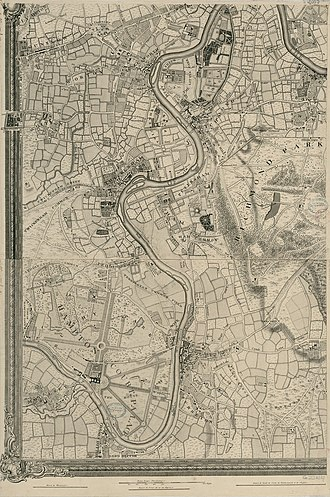John Rocque's Map of London, 1746 - Image: An Exact Survey of the citys of London Westminster ye Borough of Southwark and the Country near ten miles round (4 of 6)