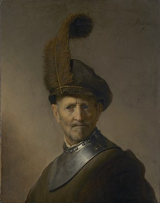 Bust of a Man Wearing a Gorget and Plumed Beret - Image: An Old Man in Military Costume 1630 1 Rembrandt