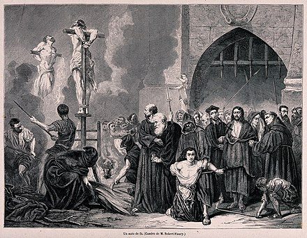 Though not subject to the Inquisition, Jews who refused to convert or leave Spain were called heretics and could be burned to death on a stake An auto-da-fe of the Spanish Inquisition and the execution o Wellcome V0041892.jpg