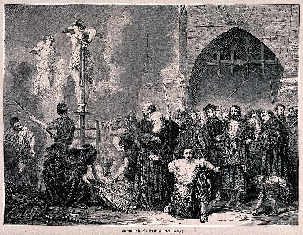 An auto-da-fé of the Spanish Inquisition and the execution o Wellcome V0041892