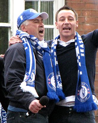 Carlo Ancelotti - Ancelotti celebrates Chelsea's first League and Cup double with team captain John Terry