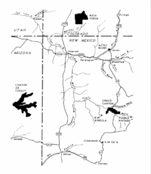 A map of the Four Corners area of the United States showing major Ancestral Puebloan settlements