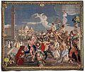 Andreas Pirot, Arlecchinos Einzug in Venedig, Gobelin aus Würzburg, um 1745 (730x620).jpg