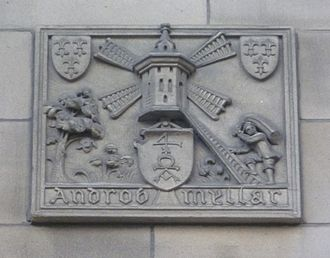 Androw Myllar - A sculpted tablet on the facade of Edinburgh's Central Library commemorates Myllar