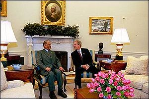 Foreign relations of Mauritius - George W. Bush and Mauritian Prime Minister Anerood Jugnauth. Oval Office, June 26, 2003.