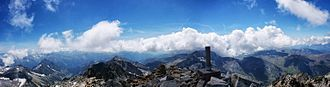 Aneto - Aneto Peak (3404m) summit panorama, looking South West, Pyrenees range
