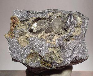 Ore - Lead ore – galena and anglesite (size: 4.8 × 4.0 × 3.0 cm)