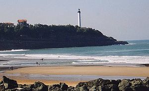 Anglet - Beach on the Chambre d'Amour at Anglet and Biarritz lighthouse