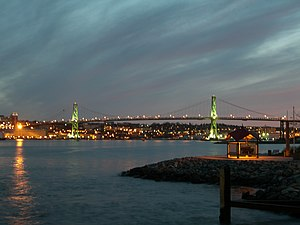 Angus L. Macdonald Bridge - The Macdonald Bridge in May 2006. The North End can be seen in the background.