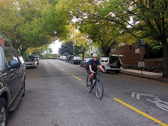 Bicycle boulevard - Bicycle boulevard on Ankeny Street in Portland, Oregon