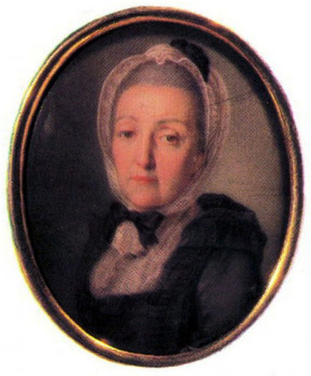 Princess Anna Danilovna Trubetskaya—Kheraskov's mother. A miniature portrait by an unknown artist, painted sometime in the 1760s.