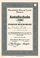 Anteilschein Nummer 0923 über Vierzig Reichsmark Klareisfabrik Heuweg GmbH Hannover vom 1. Januar 1939.jpg