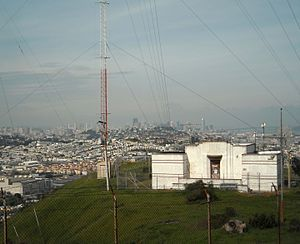 Bayview Park, San Francisco - The transmitter for KSFB (former radio station KYA (1260 AM)) is still located at the summit of Bayview Park, housed in a building designed by Julia Morgan.
