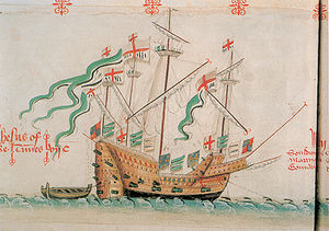 Battle of San Juan de Ulúa (1568) - The English carrack Jesus of Lübeck as depicted in the Anthony Roll