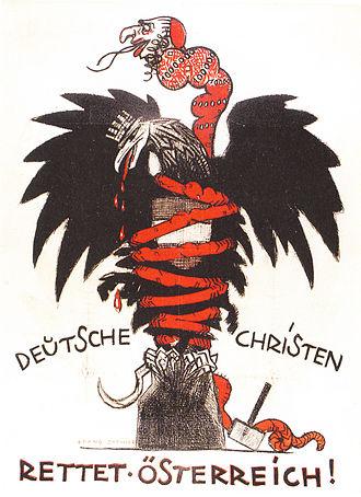 Christian Social Party (Austria) - Anti-Semitic CS poster of 1920, depicting a Judeo-Bolshevik serpent choking the Austrian eagle