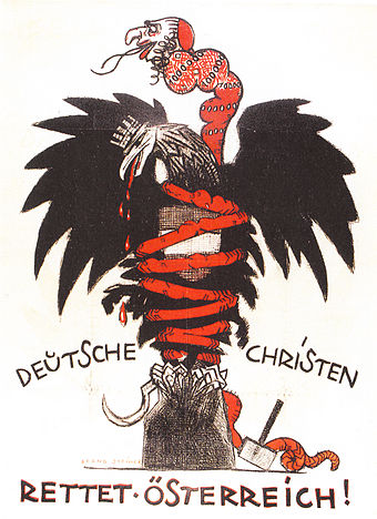 "Anti-Semitic CS poster of 1920, depicting a Judeo-Bolshevik serpent choking the Austrian eagle; Text: ""German Christians – Save Austria!"""