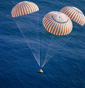 Space capsule - Apollo 17 Command Module lands in the Pacific Ocean. December 19, 1972.