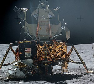 The Lunar Module of the Apollo 16 on the lunar surface.