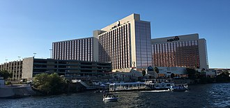 Aquarius Casino Resort - The property as seen from the Colorado River in 2018