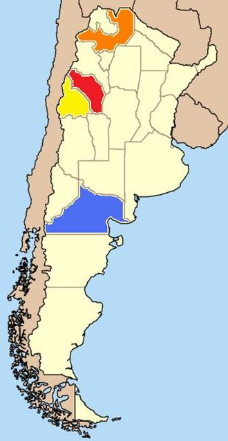 Torrontés - The provinces of Argentina that grow the most Torrontés. Torrontés Riojano is most widely grown in La Rioja (red) and Salta (orange). Torrontés Sanjuanino is most widely grown in the San Juan province (yellow) while Torrontés Mendocino is most widely grown in the Rio Negro province (blue).