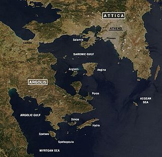 Gulf in the Aegean sea between the peninsulas of Attica and Argolis