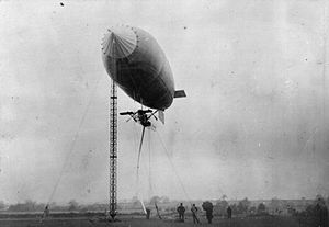 British Army airship Beta - Beta II moored to a portable mast at Farnborough