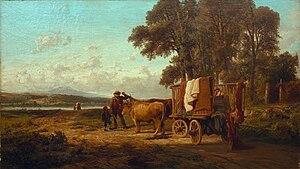 Carlo Mancini - Buoi aggiogati al carro sulle rive del Lago di Annone, 1857 (Art collections of Fondazione Cariplo)