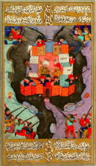 Asafi and Kayki bey in Qabala castle besieged by Safavids.png