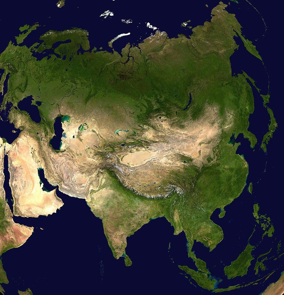 Asia satellite orthographic