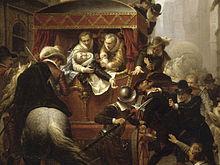 Assassinio di Enrico IV e arresto di Ravaillac, dipinto di Charles-Gustave Housez