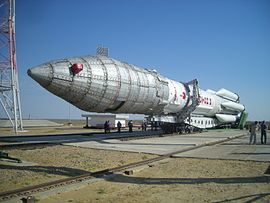 Proton-M rocket being transported to its launchpad