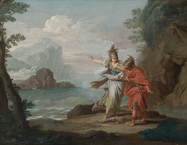 File:Athena appearing to Odysseus to reveal the Island of Ithaca by Giuseppe Bottani.jpg