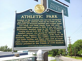 Vermont Catamounts - Vermont Division for Historic Preservation marker at former site of University of Vermont Athletic Park, home to UVM baseball, football, and track and field, 1887 to 1904. (June 2014).
