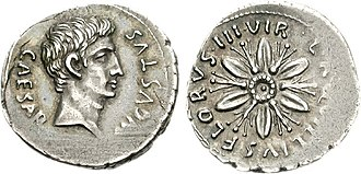 Aquillia (gens) - Denarius of Augustus and Lucius Aquillius Florus, 19 BC.  Augustus is portrayed on the obverse. The flower on the reverse alludes to Florus' name.