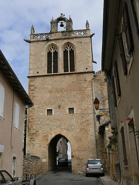 The clock tower of Aurignac (Haute-Garonne, Midi-Pyrénées, France).