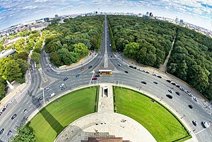 Berlin Victory Column - View from the platform of the Victory Column towards Brandenburg Gate