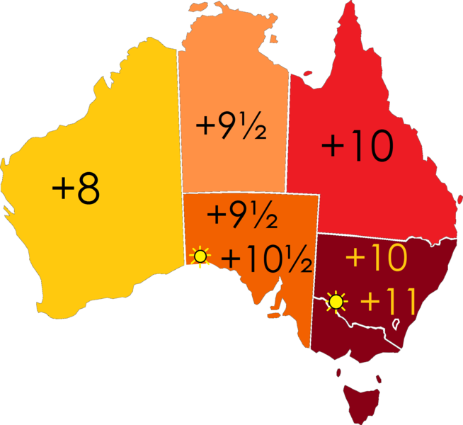 A map of the time zones in Australian mainland